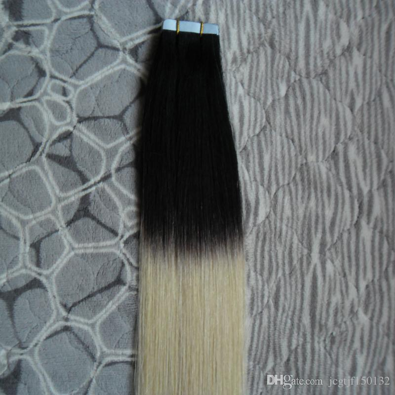 Ombre Brazilian Hair 1B/613 Tape in Hair Extensions Remy 7A 100g Straight Skin Weft tape in human hair extens