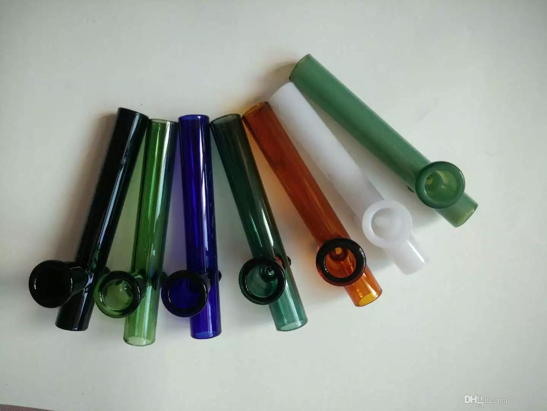 Pipes à fumer en verre colorées à la main en verre Steamrollers Pipes à main au pistolet à fumer colorées en verre