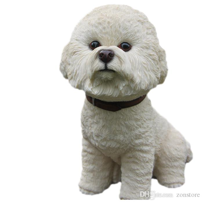 الفنون والحرف لطيف جرو كبير الراتنج تمثال الحرف اليدوية الأعلى تحصيل الشكل bichon frizy الكلب النحت 7.4 بوصة