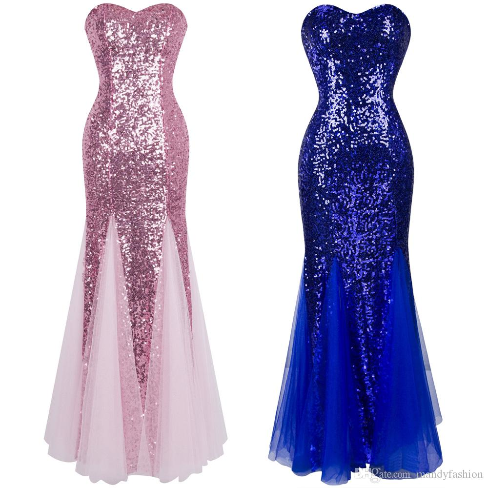 Angel Fashions Women Strapless Sleeveless Sweetheart Sequin ...