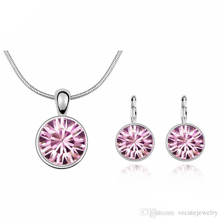 18K White Gold Plated Sweet Candy Round Crystal Necklace Earrings Jewelry Sets for Women Swarovski Crystal Jewelry Sets Wholesale Price