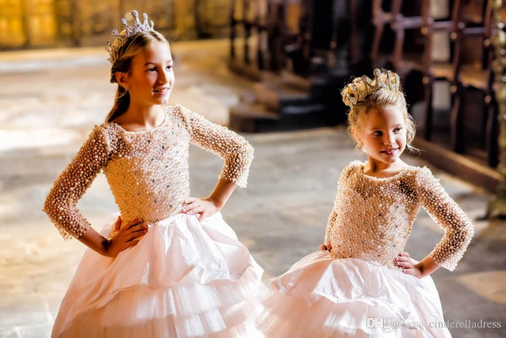 New Lovely High Low Flower Girls Dresses Crew Neck Sheer Long Sleeves With Pearls Layers Tulle Girls Pageant Gowns For Birthday Party Wear