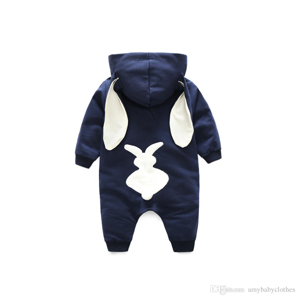Spring Bunny Baby Rompers hooded clothes animal costume rabbit baby jumpsuit with tail overalls for child 295