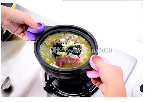 Mutfak Yemekleri Silikon Fırın Isı Yalıtımlı Parmak Eldiven Mitt Sevimli Pişirme Mikrodalga kaymaz Sıcak Izolasyon Tutucu Pot Tutucu jy322