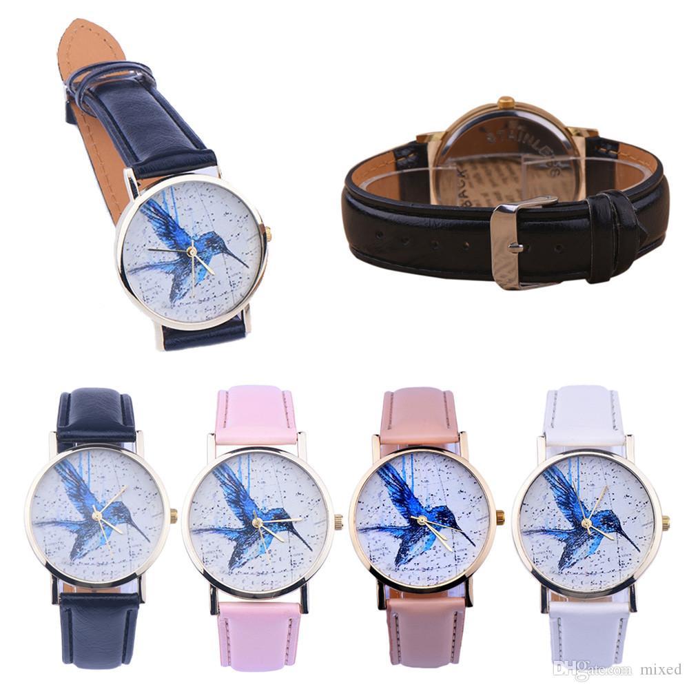 Relógio de quartzo marca relógios mulheres relógios mulheres pássaro padrão de couro analógico de quartzo relógio de pulso