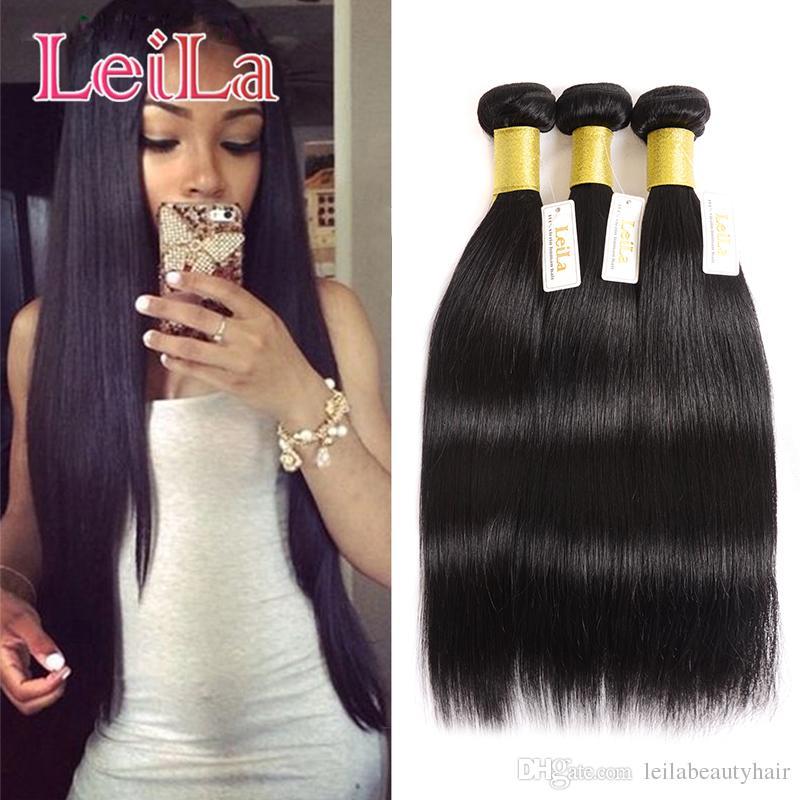 Estensioni capelli indiani Trama 3 Bundles Setky Hight Hair Capelli Tessuti Bundles 100% Non trasformato Capelli umani WeFts 3 pezzi Un set Virgin