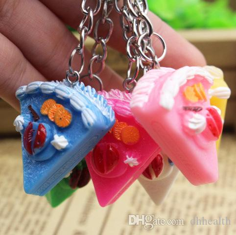 Korean cute mini food cake Keychain simulation resin GIFT PENDANT two goods wholesale All kinds of small gifts