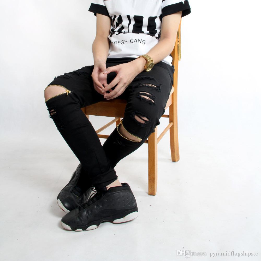 2018 2017 exo fashion style men long pants hole zipper trousers swag high street hip hop mens. Black Bedroom Furniture Sets. Home Design Ideas