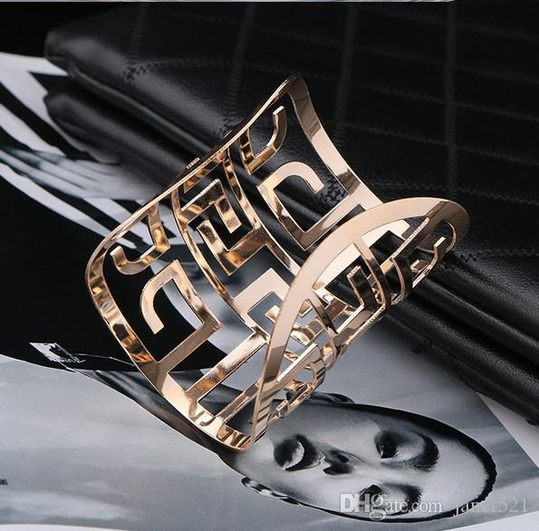 Fashion Womens Jewelry Cuff Bracelets Open Gold /Silver Tone Hollow Out Bangle For Womens Gifts Jewelry