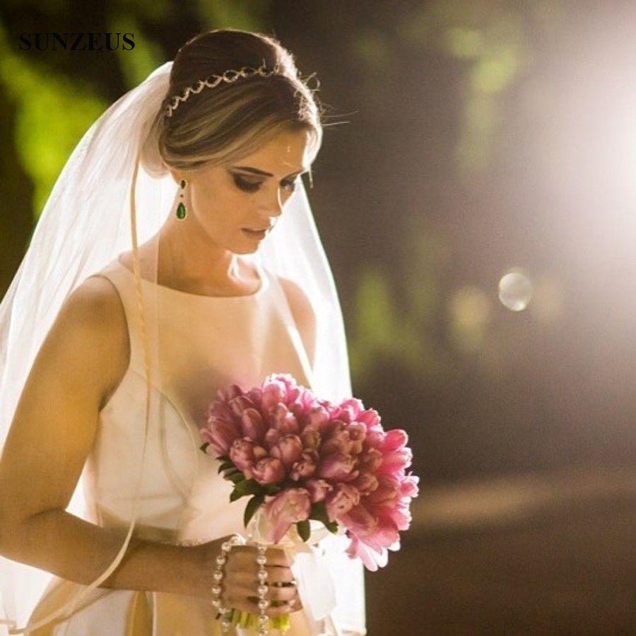 Vestido De Casamento Simple Elegant Long Satin Wedding Dress A Line Tank Sleeveless Floor Length Bridal Gowns With Pearls Beaded Belt