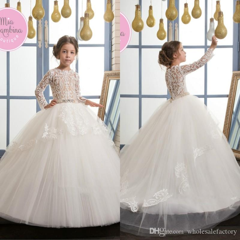 Beautiful White Lace Appliques Flower Girl Dresses Princess Ball ...