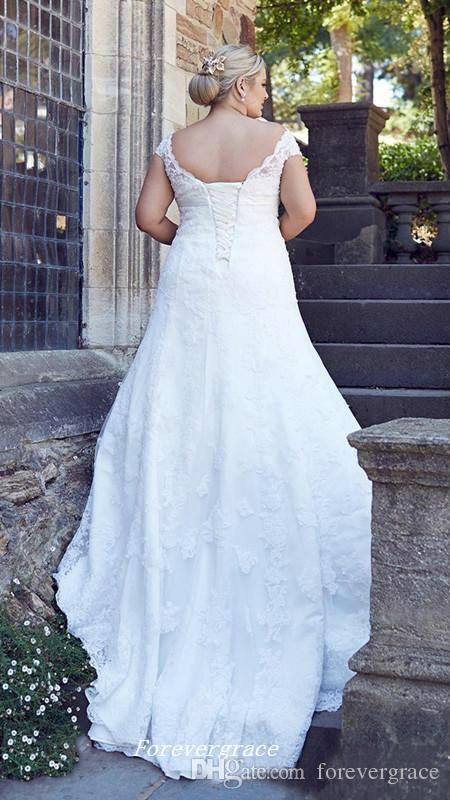 빈티지 저렴 한 라인 웨딩 드레스 높은 품질 모자 슬리브 레이스 Appliques 코르 셋 다시 신부 가운 맞춤 플러스 크기