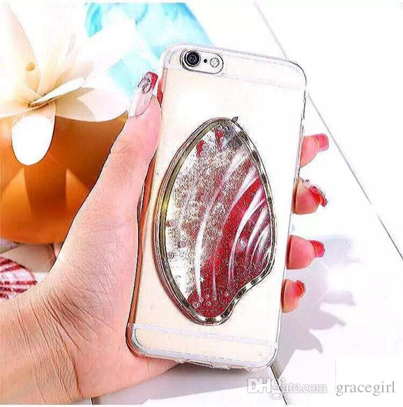 Quicksand Liquid Star Pearl Sea Shell TPU Case For iPhone 7 I7 6 6S plus Glow In Dark Conch Lumimous Bling Dynamic Skin Phone Cover