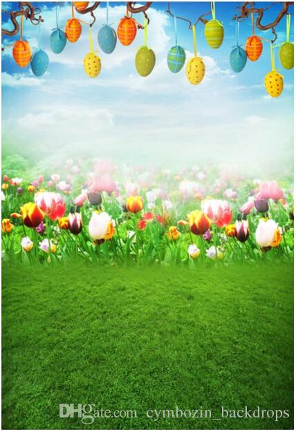 Ful Easter Eggs Photography Backdrops Blue Sky Tulip Flowers Green Grassland Spring Scenic Kids Baby Newborn Photo Studio Backgrounds From