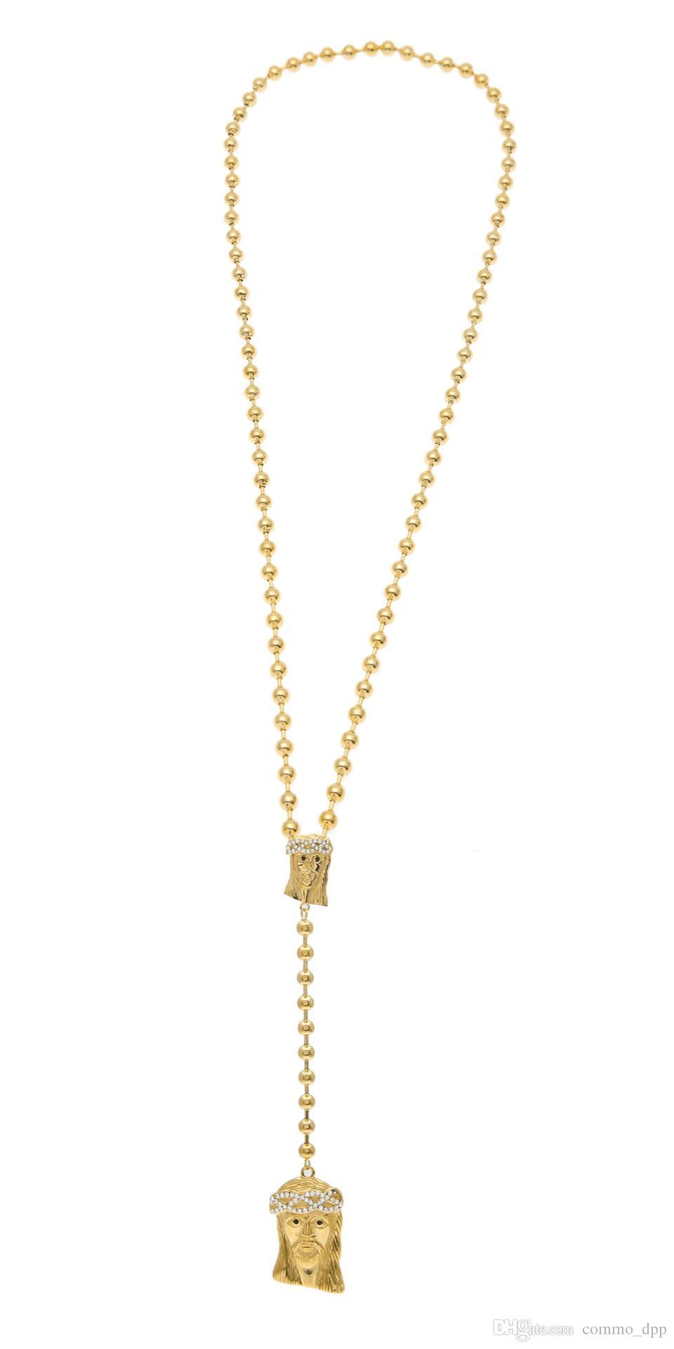 Hip Hop Takı kristal elmas Rhinestones Altın Dolu İsa adet kolye bildirimi kolye boncuklu Zincir erkek Moda Takı Için