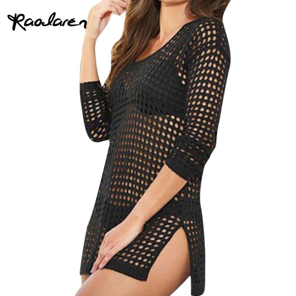 Raodaren 2017 Summer Women Sexy Mesh Knitted Crochet Beach Tops T Shirts Swimsuit Cover Up Swimwear Bikini Wrap Bathing Suit
