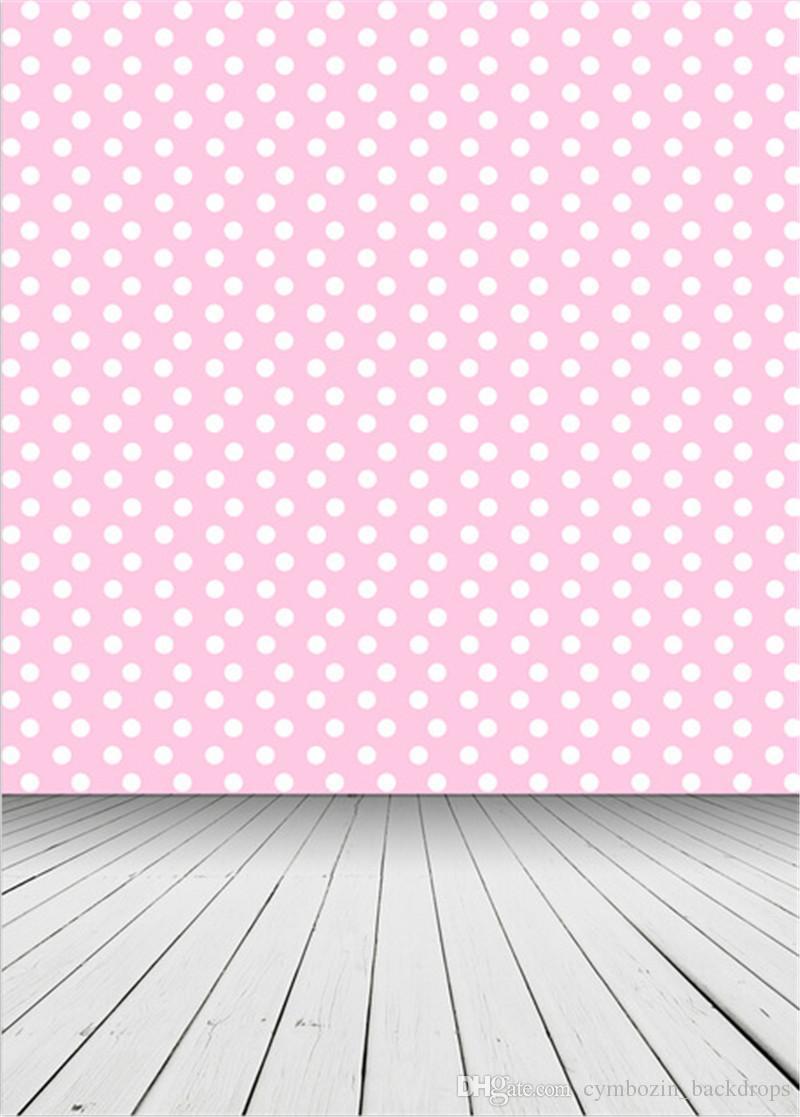 2019 White Polka Dots Pink Photography Backdrops Vinyl