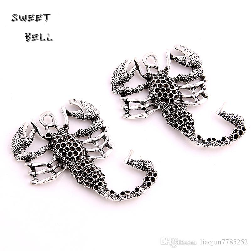 SWEET BELL Min order 38*50mm Antique Silver Metal Zinc Alloy Animal Scorpions Pendant Charms Fit Diy Jewelry Making D6132