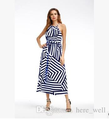 Casual Boho Stripe Chiffon Beach Party Silk HOT New Womens Sexy celebridade Bandage longa Maxi Vestido Ladies Verão Halter vestido de Sun