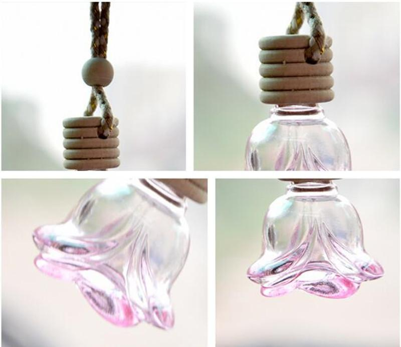 New Rose 6ml Hanging Car Perfume Bottles Car Pendant Accessories Bottle Small Empty Glass Bottle Wholesale