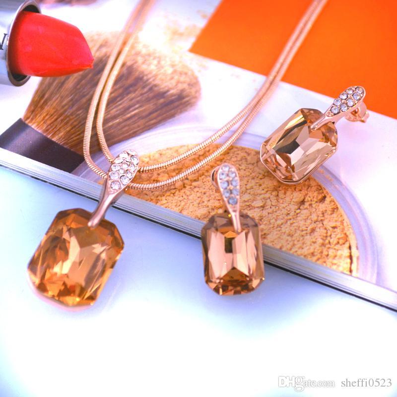 2017 yeşil Küpe Takı Yeni yaldızlı moda gül altın küpe şampanya kristal takı saplama küpe 005-69