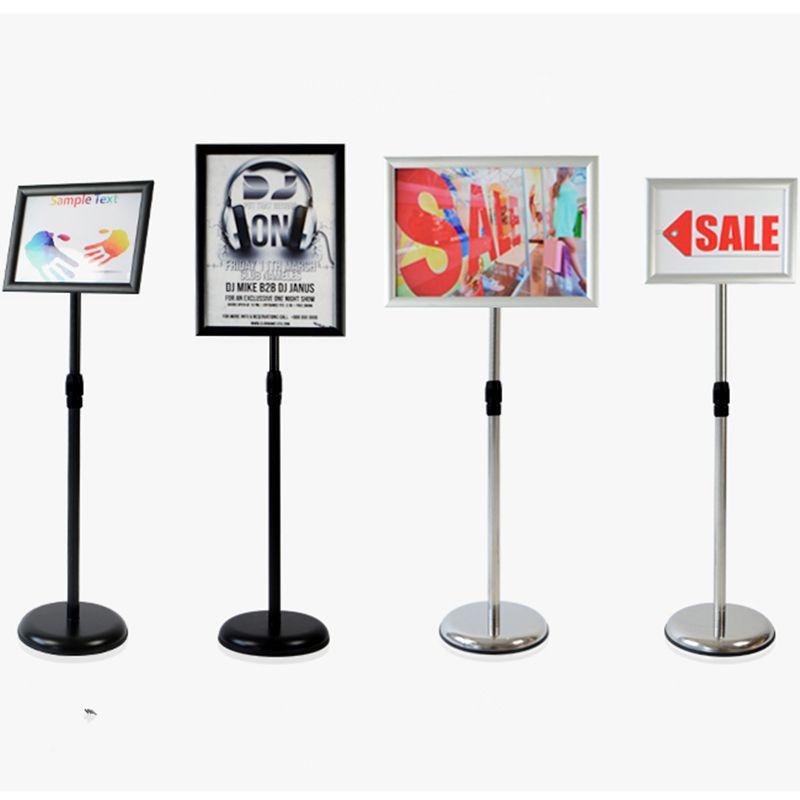 2019 Adjustable Pedestal Poster Stand Aluminum Snap Open Frame For