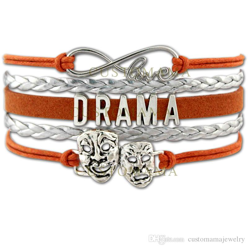 Custom-Infinity Love Drama Bracelets Theatre Comedy Art Mask Charm Gift for Drama Amateur Orange Leather Custom any Themes