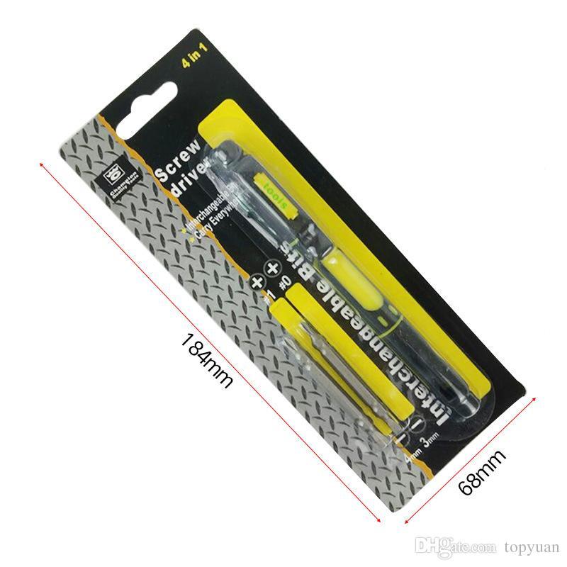 Multifonctionnel 4 en 1 alliage fendu tournevis trousse stylo précision double kit d'outils de réparation interchangeable