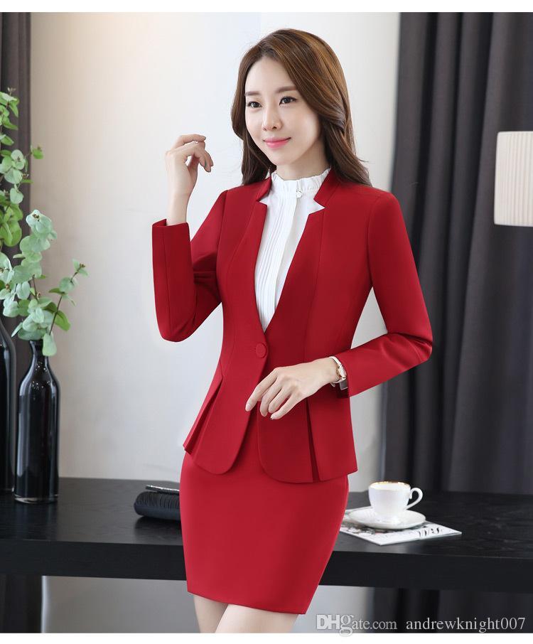 10bb747e7 Traje de vestir para mujer profesional Blazers para mujer con falda OL  Trajes de trabajo de carrera Envío libre DK851F