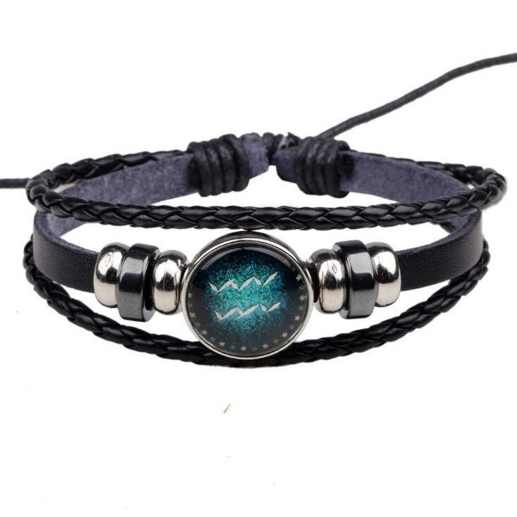 High quality Twelve Constellation Bracelet Handmade Beaded Retro Diy Bracelet FB028 a Beaded, Strands