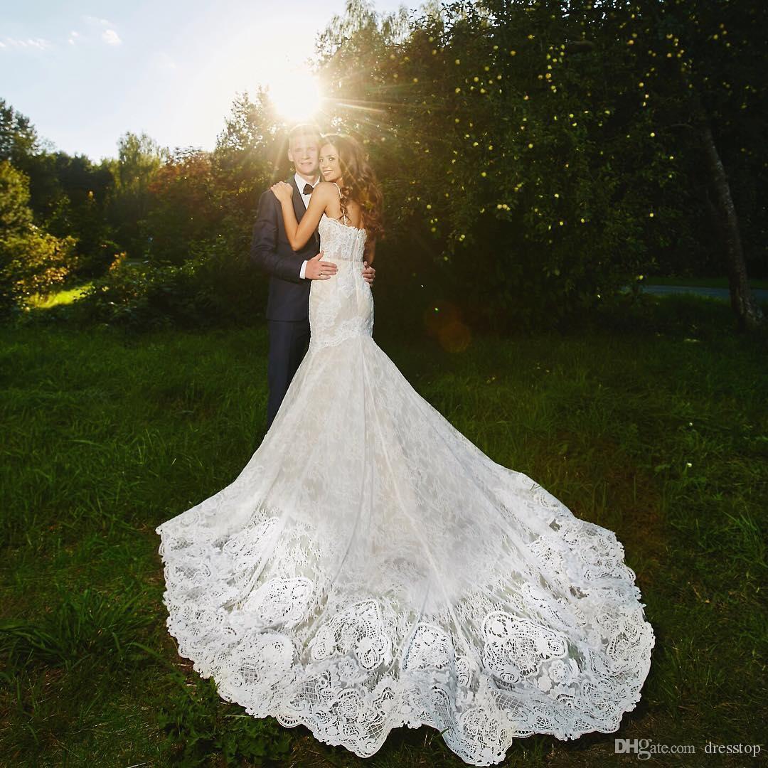 레이스 머메이드 웨딩 드레스 스파게티 스트랩 트럼펫 웨딩 드레스 웨딩 드레스 Tulle Country Dress Dress