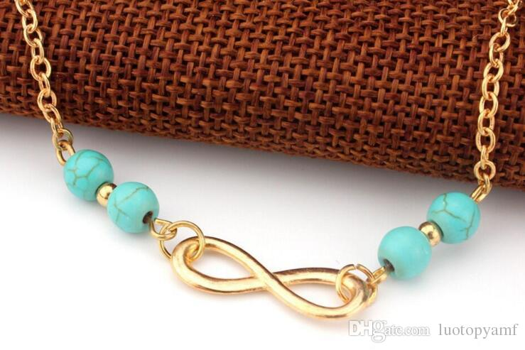 Anklet Beads Chain DHL New Summer Style Turquoise Beads Fashion Chain Foot Anklet Women Silver Bracelet Leg Jewelry for Lady