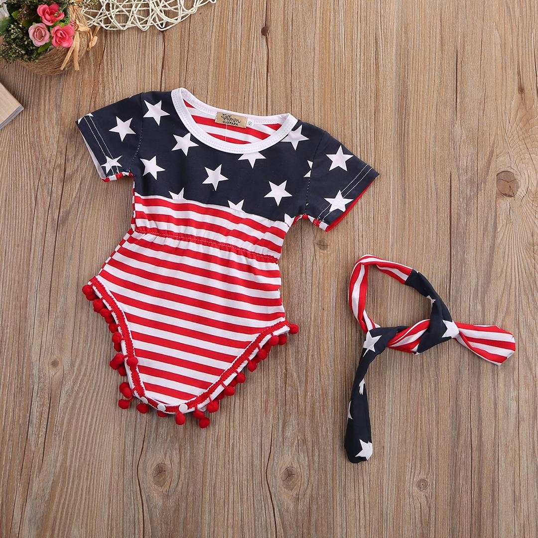 461d58f84750 2019 Mikrdoo Newborn Baby Rompers Girl Sleeveless Tassel Romper The  National Flag Printing Toddler Kids Cotton Jumpsuit +Headband Clothes From  Mikrdoo