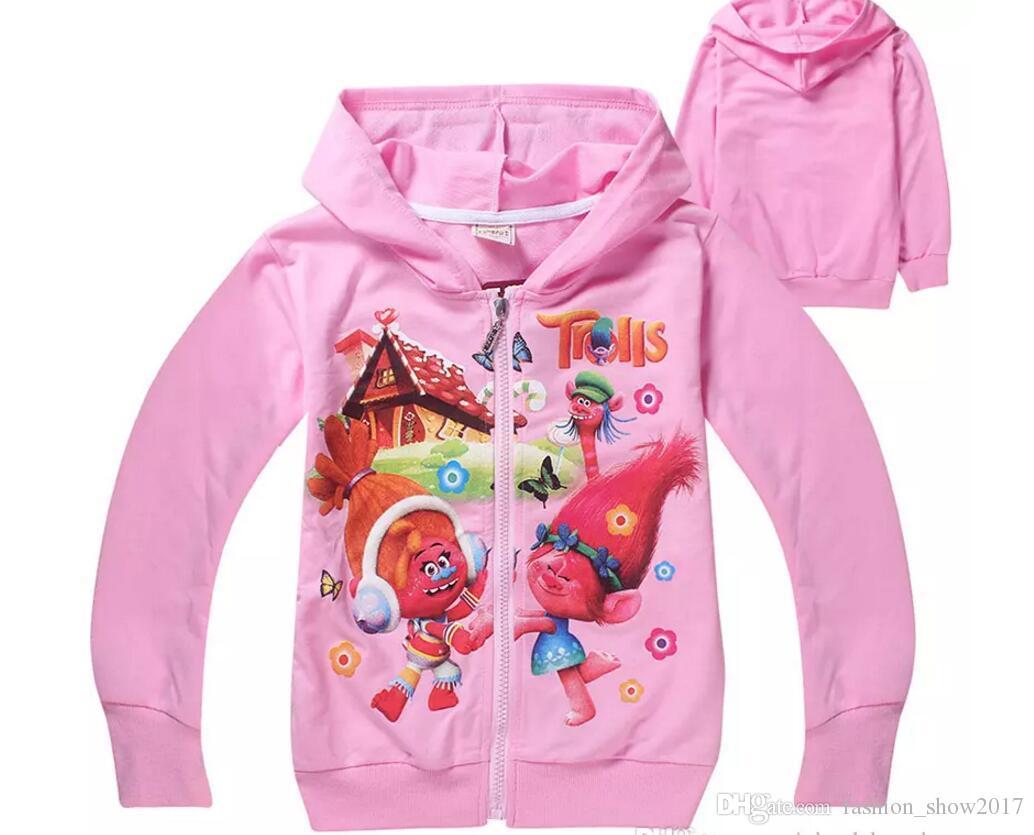 Trolls Little Girls 'Twins traje Zip Hoodie bebé niñas chaquetas de invierno ropa de niña niño otoño abrigo niños sudadera