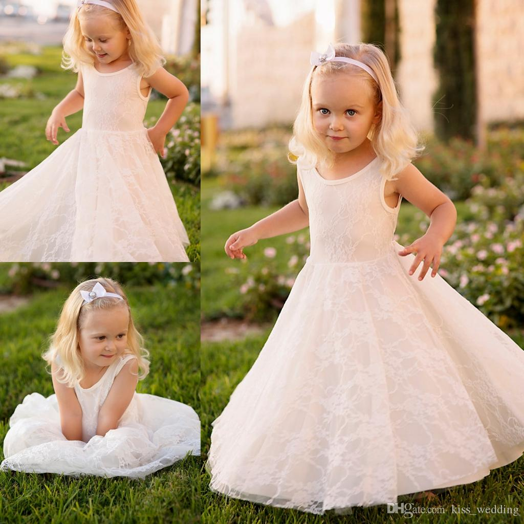 7ce39241485 Cute Ivory Full Lace Flower Girl Dress For Wedding Jewel Neck Toddler  Infants Homecoming Communication Dresses Kids Graduation Gown Long Flower  Girls ...