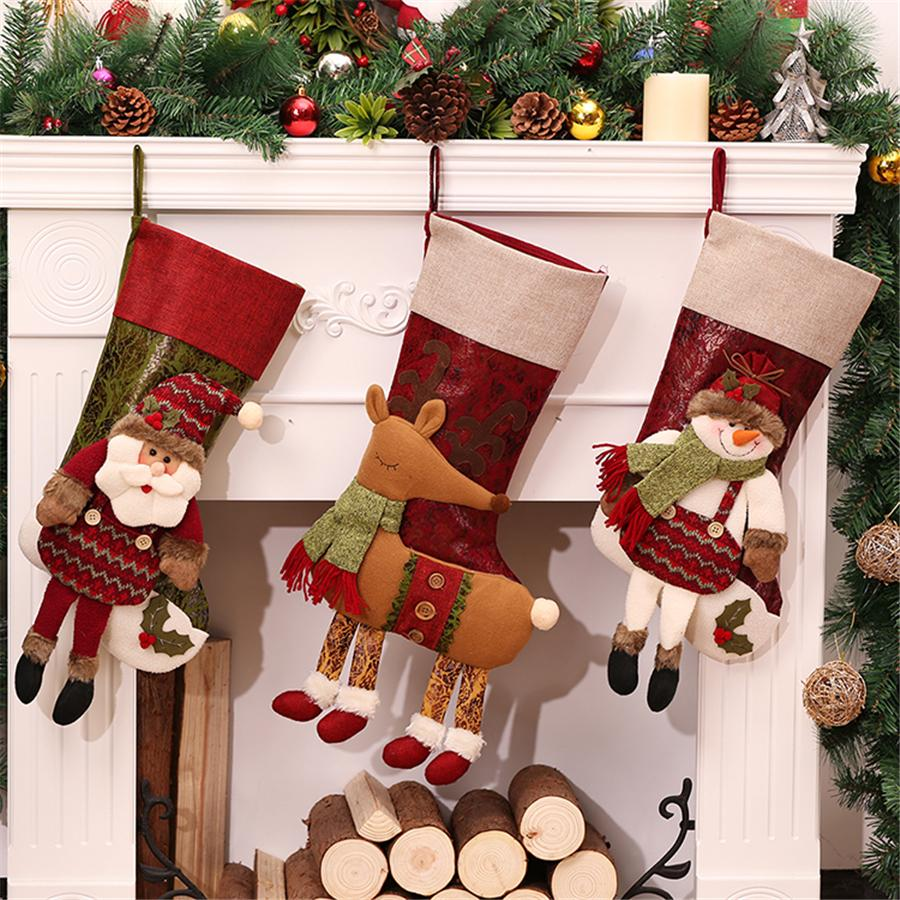 Personalized Christmas Stockings Red Canvas Reindeer Bags
