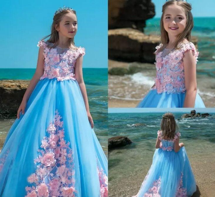 Pretty Flower Girl Dresses Blue Tulle For Pink Appliqued Princess