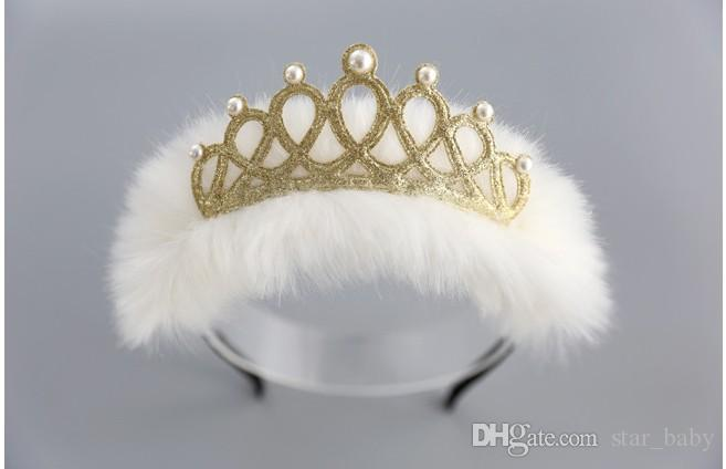 2017 Korean New Arrivals Fur Shinning Crown Pearl Head Hoop Pink White Lovely Girls Dress Hair Accessories Head Ornaments B4421
