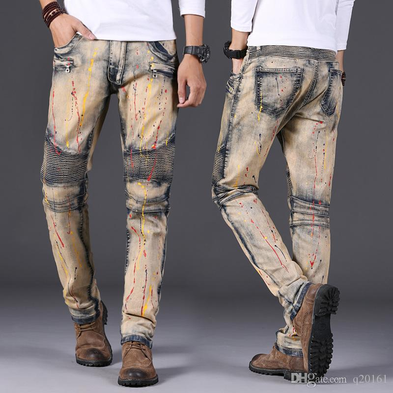 Men's Distressed Ripped Skinny Jeans Destroyed Slim Retro Cowboy Motorcycle Slacks Snowflake Spot Coating Pure Cotton Pants For Size 28-42