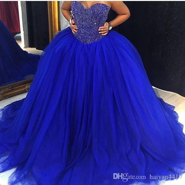 2020 New Gorgeous Royal Blue Quinceanera Ball Gown Dresses Sweetheart Crystal Beading Tulle Sweep Train Plus Size Party Prom Evening Gown