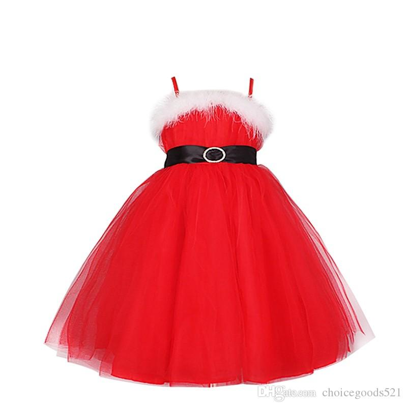 2018 Red Xmas Dress Kids Girls Christmas Santa Claus Braces Tulle ...