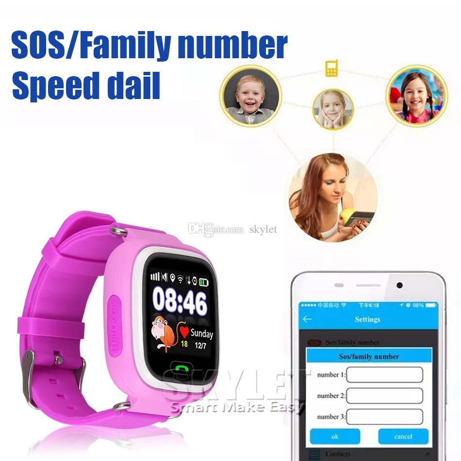 Q90 Bluetooth GPS İzleme Smartwatch Dokunmatik Ekran Ile Wifi LBS Android SOS Çağrı Anti Kayıp Smartphone Giyilebilir Cihaz Kutusunda