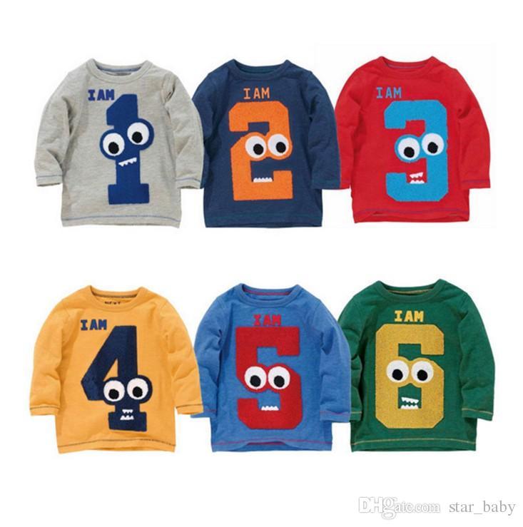 Compre 20 Projetos Nova Chegada T Shirt Dos Miúdos Adorável Camisa Sping  Outono Roupas Números Animais Dos Desenhos Animados Bordados Camisas  Multicolor ... 57ec924a913b0