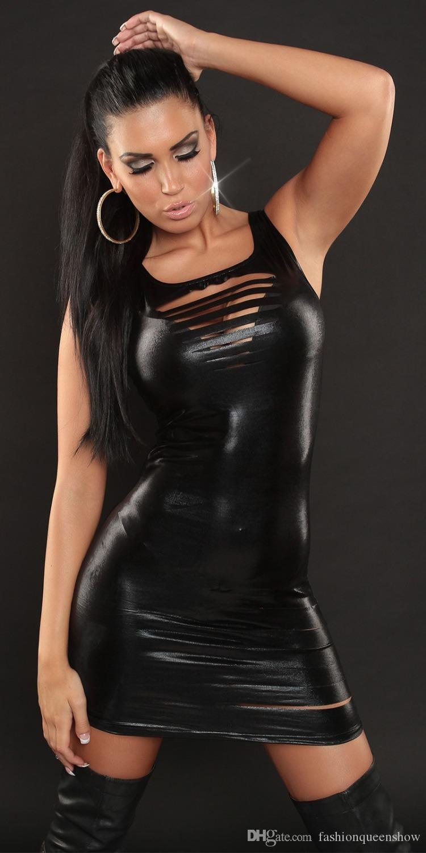 6 Farben Frauen Metallic Faux Leder Bodycon Minikleid Sexy Shiny Disco Clubwear Slash Wet Look Kleid
