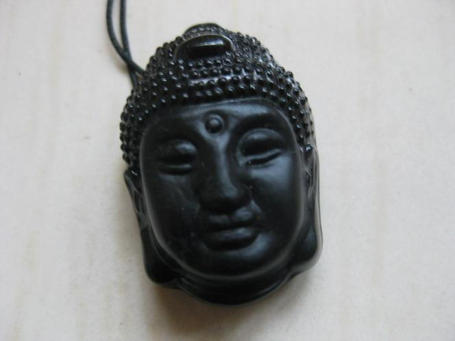 2017 fashionable obsidian hand-carved Buddha head pendant FREE SHIPPING fashion Jewelry obsidian pendant wholesale and retail