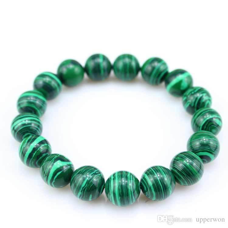 New Stretch Bracelet 6mm Natural Stone with Tibetan Bracelet Bracciale in malachite con perline di pietra