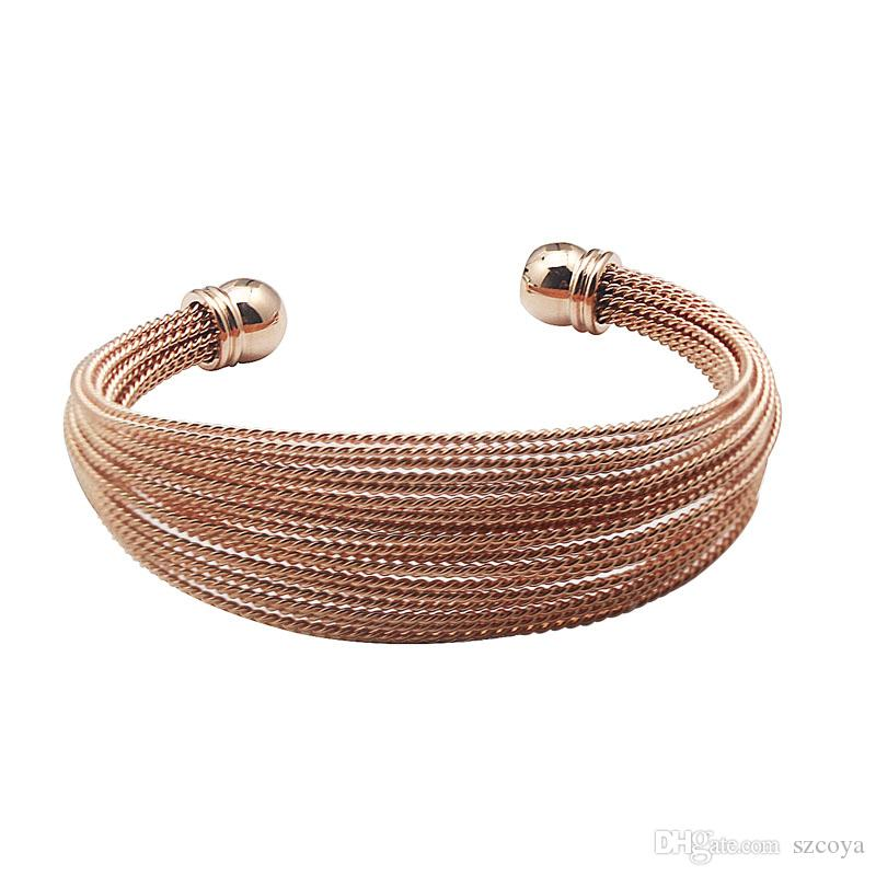 New Fashion Stainless Steel Cuff Rose Gold Color Cuff Bracelet Set Unique Bracelets & Bangles Jewelry for Women