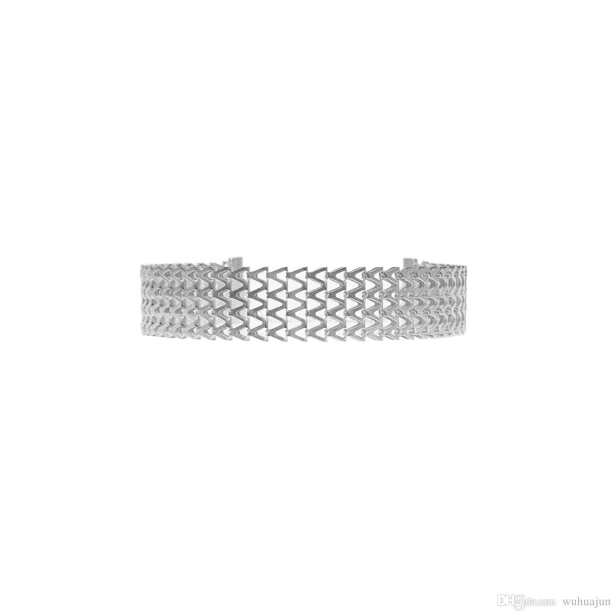 Шикарные Chockers для женщин 2017 новый геометрический V цепи ожерелье девушки 18K позолоченный / серебро 100% сплав ожерелья Леди партии ожерелья 5 шт.