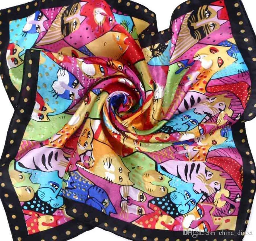 50cm 스퀘어 실크 스카프 실크 스카프 Neckscarf 스카프 여자 아이 / # 1890