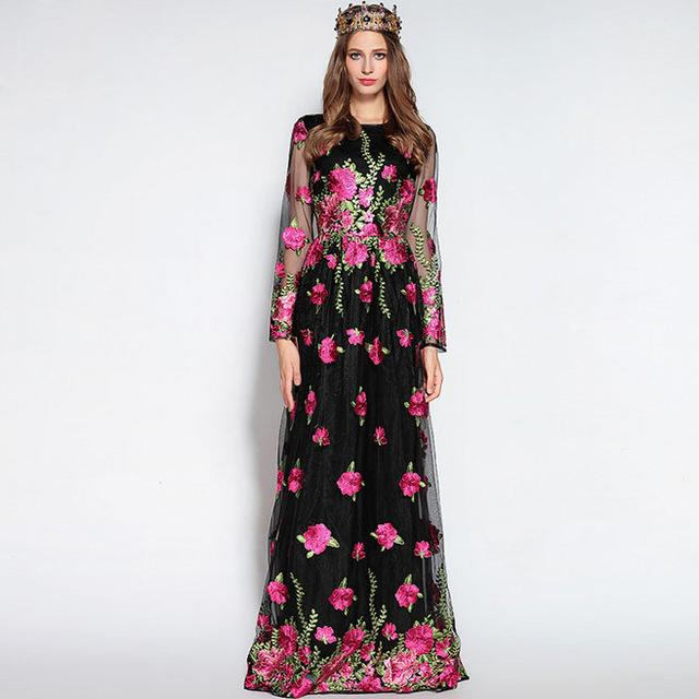 5b0d5a3ac1f 2019 High Quality 2017 Autumn Women S O Neck Long Sleeves Embroidery Prom Designer  Floral Runway Maxi Dresses From Xbeauty
